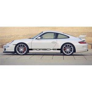"""画像1: Porsche 911 carrera用 """"PORSCHE"""" ロゴ サイドステッカー"""
